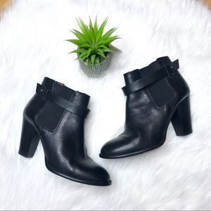 Madewell Lonny Black Leather Heeled Booties
